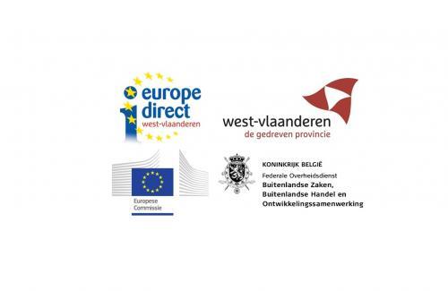 Logos van Europe Direct, West-Vlaanderen, Buitenlandse Zaken Belgie en Europese Commissie